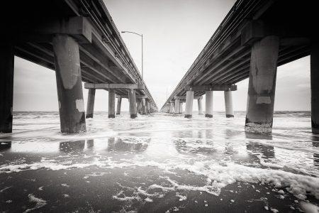Chesapeake Bay Bridge Tunnel in B+W