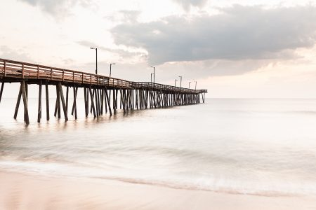 Clouds roll in at sunrise. Virginia Beach Fishing Pier.