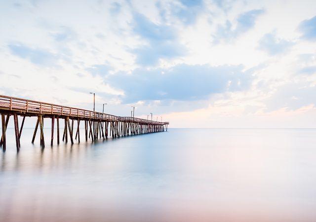 Pastel blue sunrise at the oceanfront, Virginia Beach