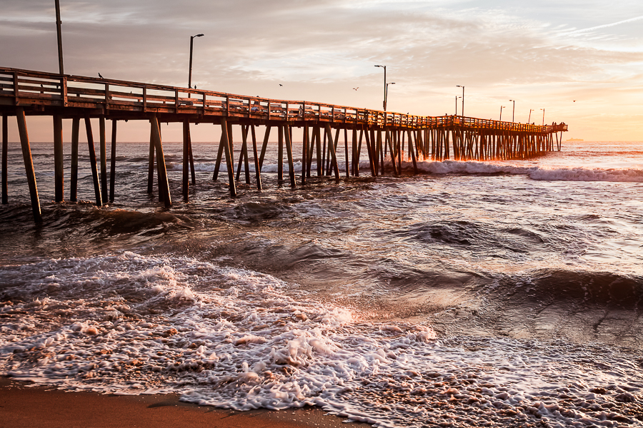 Sunrise at the Virginia Beach Fishing Pier.
